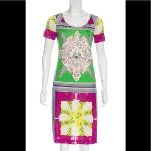 ETRO PRINTED GREEN PINK YELLOW DRESS Size 6